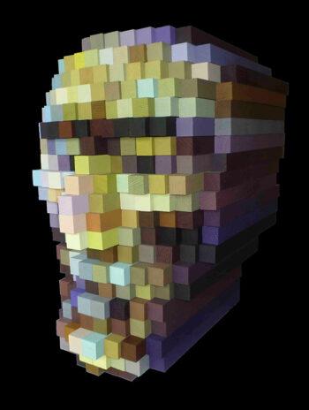 Sculpture - Série Le passé au futur - Tête carrée de Caroline David