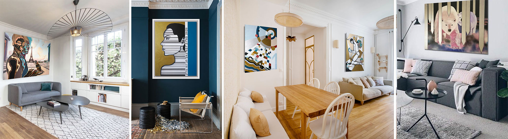 Présentation des tableaux d'art contemporain accrochés sur les murs dans sa maison