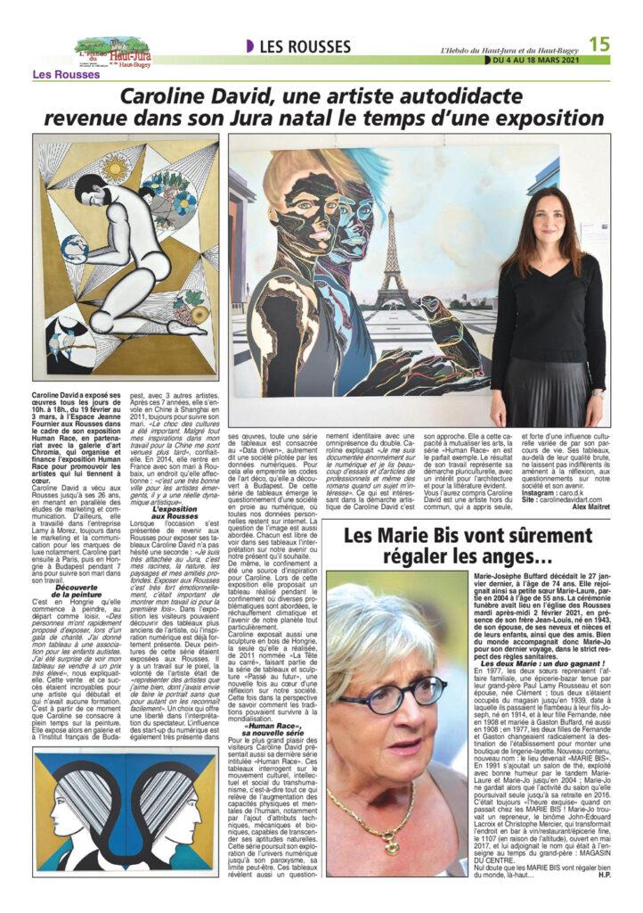 caroline David dans la presse - Hebdo Haut-Jura et Bugey